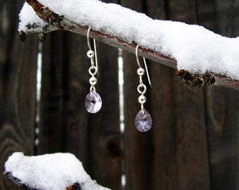 Handmade Rose Pink Swarovski Crystal Teardrop and Sterling Earrings