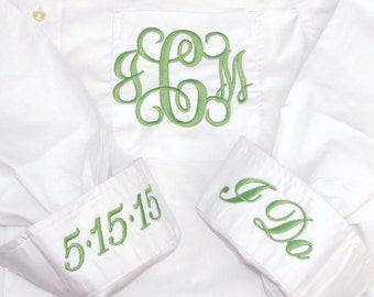 Personalized Bridal Party Shirt - Monogrammed Button Down Wedding Getting Ready Shirt