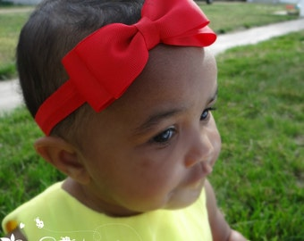 Red Bow Headband. Baby Red Bow Headband. Baby Headband. Newborn Headband. Girl Headband. Photo Prop.