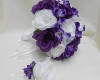 Wedding Bridal Bouquet Your Colors 2 pieces White Purple Rose Purple Hydrangeas with Boutonniere Centerpiece Accessories FREE SHIPPING