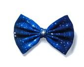Blue/Black Galaxy Printed Hair Bow