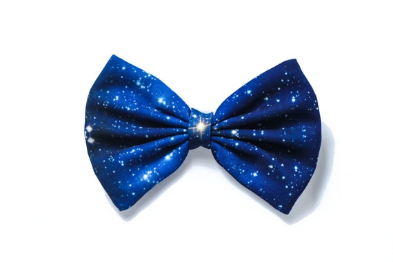 Blue/Black Galaxy Printed Hair Bow