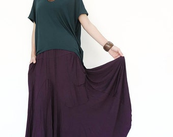 NO.136 Plum Rayon Spandex Softly Softly Asymmetrical Skirt, Long Maxi Skirt