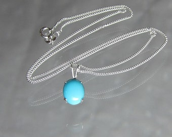 """Sleeping Beauty Genuine Turquoise Necklace 10x8mm Cabochon Stone Sterling Silver 16"""" Necklace"""
