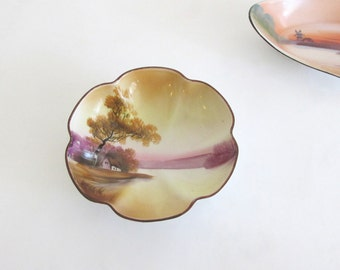 Noritake M Hand Painted Japan Footed Berry Bowl Pastoral Scene