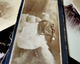 Vintage Photograph of Young Children, Boy & Girl, Antique Sepia Studio Portrait, Cabinet Card, CDV