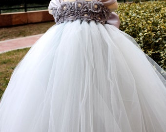 On Sales Flower Girl Dress Sliver Light Grey tutu dress baby dress toddler birthday dress wedding dress 1T 2T 3T 4T 5T 6T