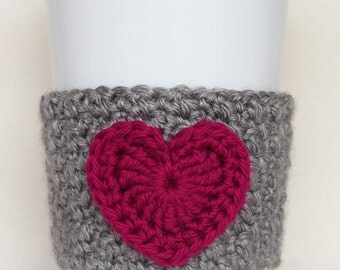 Crocheted Heart Coffee Cup Cozy Heather Gray and Berry