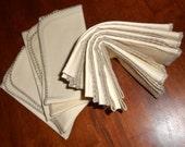 Vintage linen napkins, dinner napkins gray shell embroidered edging set of eight 1960s table linens