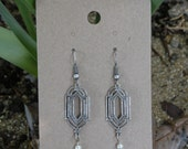 Art Deco Antiqued Silver and Pearl 1920s Style Earrings