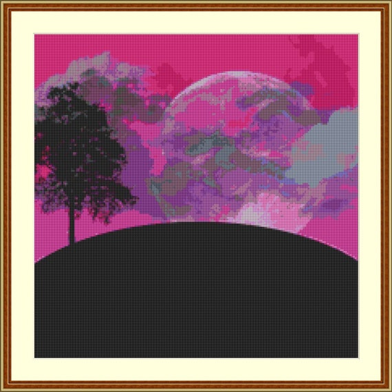 The Side Of The Moon Cross Stitch Pattern /Digital PDF Files /Instant downloadable