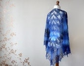Hand Knit wool woman shawl in blue color