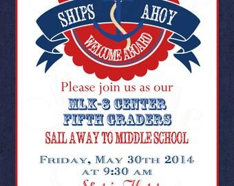 Nautical Theme elementary school graduation invitation -Printable file