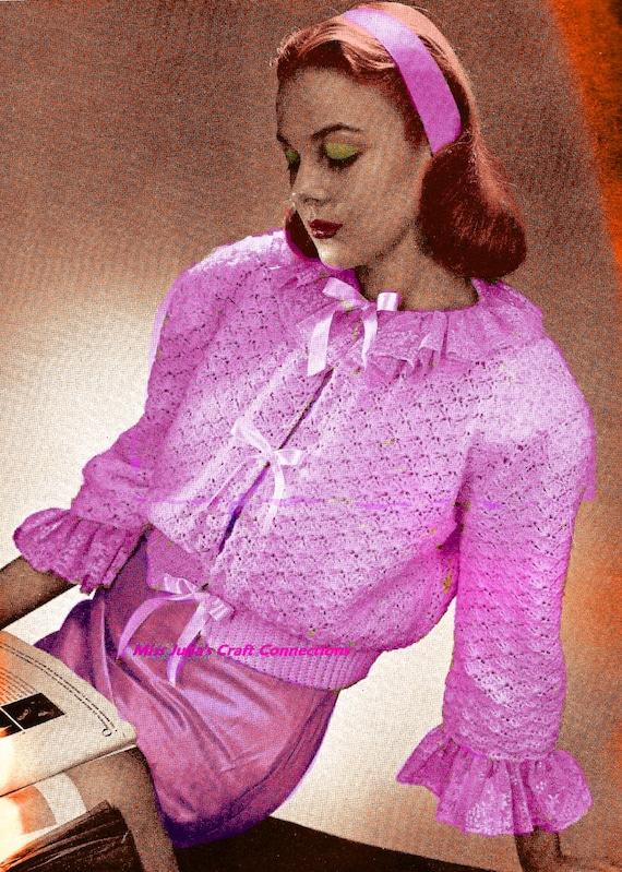 Vintage 1945 Bonita Lace Bed Jacket Sweater 419 PDF Digital Crochet Pattern