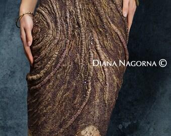 Light bronze felted dress , Nuno-felt dress, Elegant dress, beautiful dress, Hand felting, bead embroidery, Dress with lace