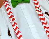 Red and White Chevron Suspenders with Solid Green Christmas Holiday Bowtie Bow Tie - Baby / Toddler / Child
