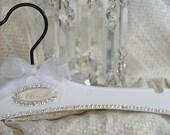Wedding Dress Hanger Bridal Hanger Personalized  AVAIL Vintage Style Swarovski Crystals Bridal WHITE Audrey