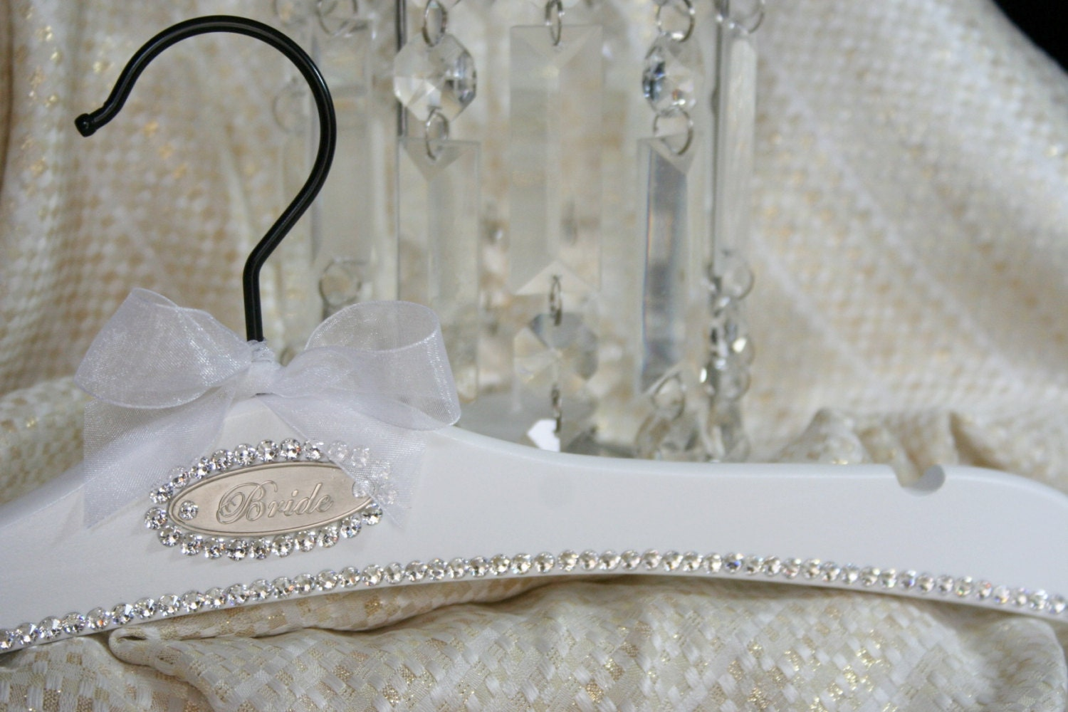Wedding dress hanger bridal hanger personalized avail vintage for Personalised wedding dress hanger