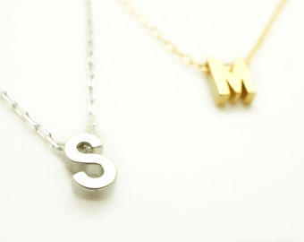 Silver Monogram Necklace - Initial Necklace - Letter Necklace - Upper Case Alphabet Necklace - Monogram Chain Necklace - Name Necklace