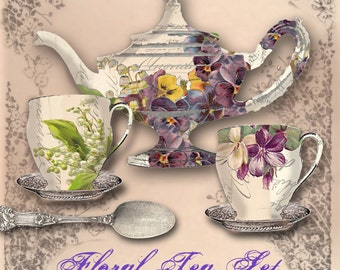 Floral Tea Set - Digital Tea Set - Includes Bonus Decorative Tea Menu - Instant Download