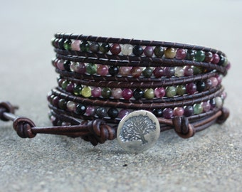 watermelon tourmaline leather bracelet tree in pink, green and black with sterling silver tree of life button 5 strand wrap around