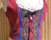 Renaissance bodice, dark red cotton with trim, size med.