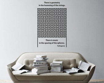 Science art mathematics- Pythagoras quote on geometry and Hilbert curve vinyl wall decal for your classroom scientific decor (ID: 121025)