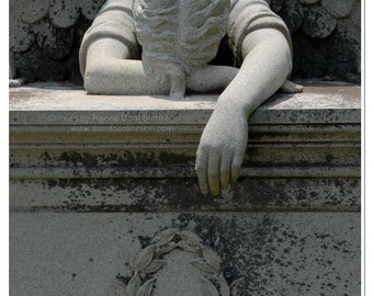 Weeping Angel Photo - Cemetery Angel Statue Photo - Angel Print - Guardian Angel Wall Art - Cemetery Photograph