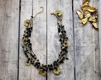 Crochet Necklace Black Golden Flowers Oya Crochet Beaded Bridal Necklace Jewellery, Beadwork, Crochet ReddApple, Fast Delivery