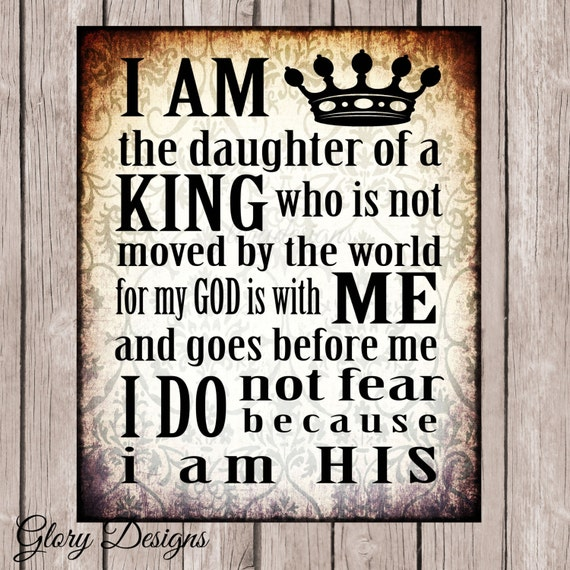 Daughter of the King Inspirational quote printable by ...