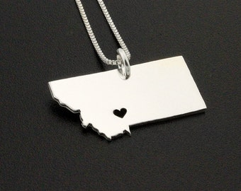 Montana State necklace Personalized engraved Montana necklace sterling silver Montana state necklace with heart - Hometown Memory Gift