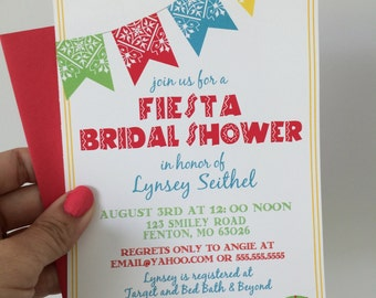 Fiesta Bridal Shower Invitations, Mexican Wedding Shower Invite, Printable Fiesta Invitations