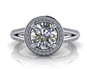 Halo Engagement Ring, Moissanite Center with Diamond Setting Ring Name Ivy