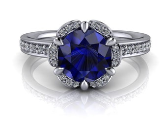 Blue Sapphire Engagement Ring Diamond Setting Gold Platinum or Palladium Ring Name Blooming Blue