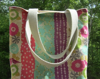 Small Tote in Echino Stripes, Birds and Flowers