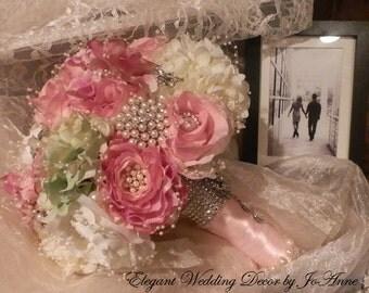 SILK FLOWER Custom Wedding Bouquet, Full Price for an Elegant Jeweled Silk Flower Brides Bouquet, Jeweled Bouquet, Rose Bouquet, Bouquet