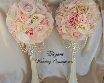 PAIR WEDDING CENTERPIECES- Blush Pink Mix Elegant Wedding Centerpieces, Listing is for two Centerpieces