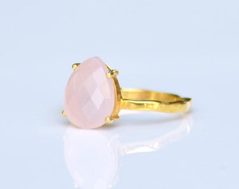 Pink Chalcedony Ring, October Birthstone ring, Gemstone Ring, Stacking Ring, Gold Ring, Tear Drop Ring, Prong Set Ring Silver ring statement