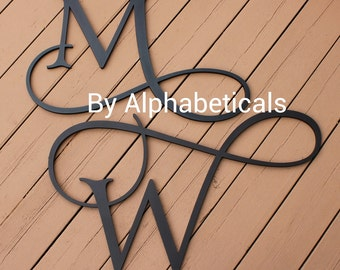 Wooden Monogram Initials Script Wooden Letters Wall Letters for Wall Decor Cursive Wall Hanging Letters His and Hers Name Alphabeticals