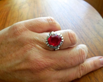 Vintage 30s Art Deco Sterling Ring with Faceted Garnet Red Glass Stone