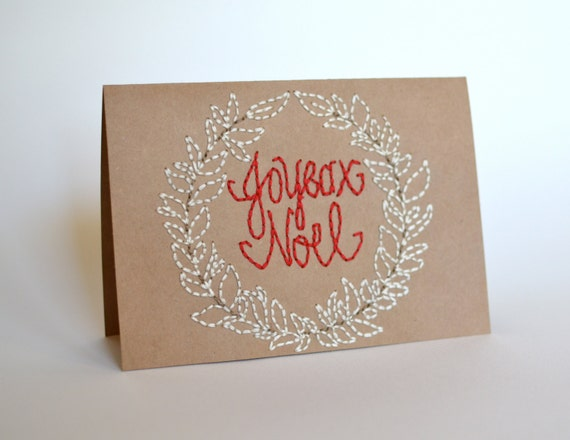 Joyeux Noel Hand Embroidered Christmas Card