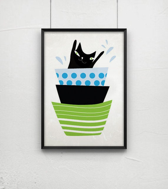 Black cat swims in a bowl / cat print / - cat art -print by nicemiceforyou