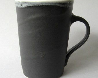 Matte Black Coffee Mug, Black with White Stoneware Cup