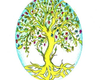 "Tree of Life art print of an original drawing available 5x7"" or 8x10"""