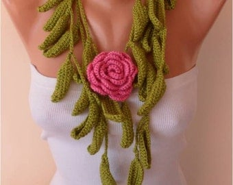 Christmas Gift Gift For Her Green Leaves and Pink Rose Crochet Jewelry Scarf with Flower Brooch Women Fashion Accessories Black Friday
