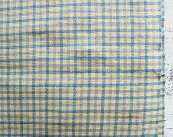 Vintage cotton fabric 1.53 yards in 1 listing checked mint blue pastel yellow