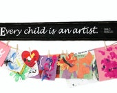 Every Child is an Artist Reclaimed Wood Sign Pablo Picasso, Child Signs, Child Artwork Hanger