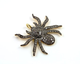 Pave Diamond Pendant, Pave Spider Pendant, Diamond Spider Charm, Pave Spider Necklace, Pave Connector, Gold Plated Over Silver.  (DCH/CR38)