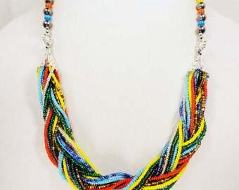 Multicolor Braided Bead Necklace