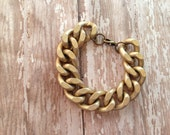 Chunky Chain Matte Gold Bracelet, Chunky Chain Boho Bracelet, Matte Gold Chunky Chain Bracelet